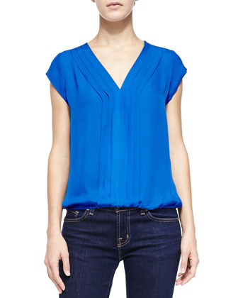 Marcher Pintucked Cap-Sleeve Blouse