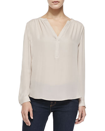 Carita Long-Sleeve Blouse W/ Half Placket