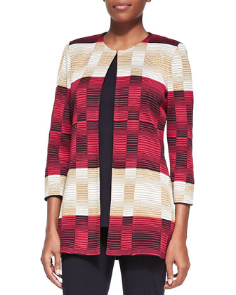 Striped Block Open Jacket, Sleeveless Long Tank & Seamed Slim Pants