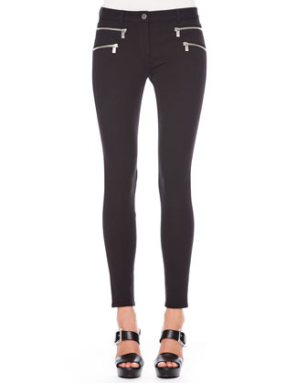 Stretch-Cotton Skinny Pants, Black