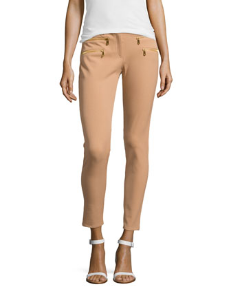 Stretch-Cotton Skinny Pants, Suntan