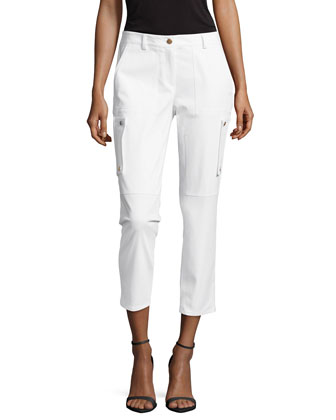 Samantha Cargo Cropped Pants, Optic White