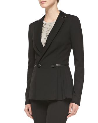 Firecracker Pleated-Side Jacket w/Leather Trim