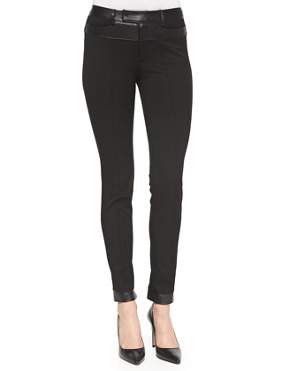 Trick Rider Skinny Leather-Trim Pants