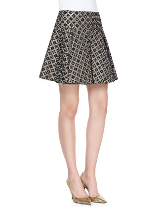 Tight Rope Cropped Top & Magician Diamond Woven Pleated Mini Skirt