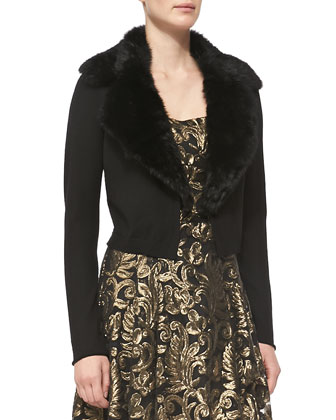 Glam Fur-Trim Cardigan & Spotlight Metallic Jacquard Dress