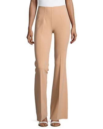 Side-Zip Flared Trousers, Suntan