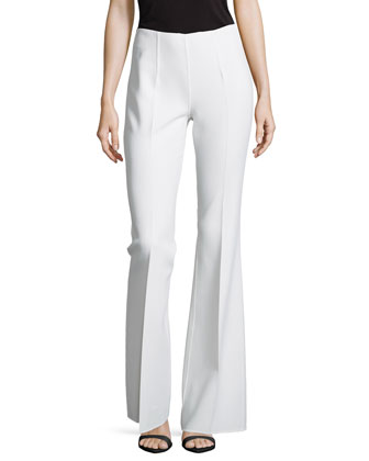 Side-Zip Flared Trousers, White
