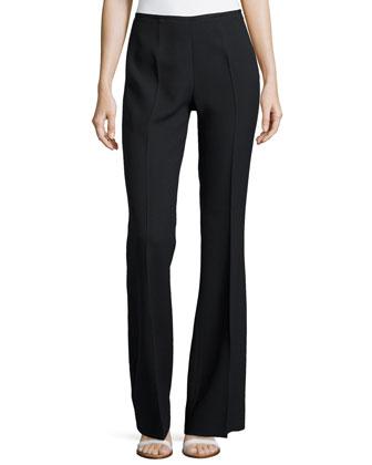 Side-Zip Flared Trousers, Black
