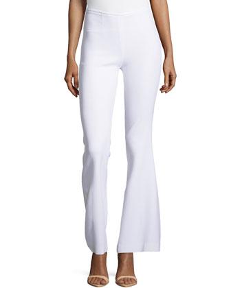 Side-Zip Silk Flared Trousers, Optic White