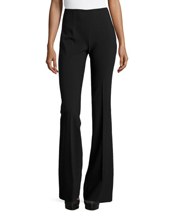 Side-Zip Flared Trousers, Black