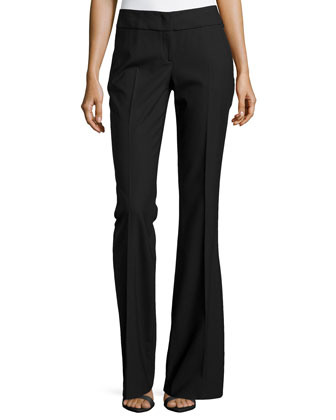 Flared Crepe Trousers, Black