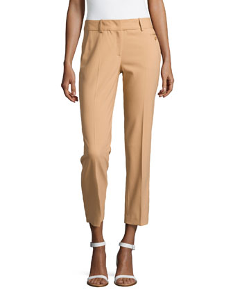 Samantha Skinny Wool Ankle Pants, Suntan