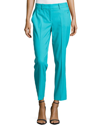 Samantha Skinny Wool Ankle Pants, Aqua