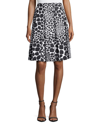 Animal-Print Pleated Skirt, White/Black