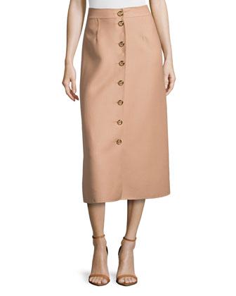 Button-Front Midi Skirt, Suntan