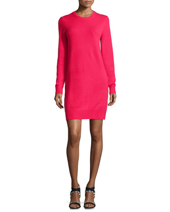 Cashmere Long-Sleeve Sweaterdress, Azalea