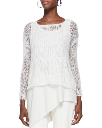 Mohair Mesh Long-Sleeve Top, Silk Asymmetric Draped Shell & Slim Stretch ...