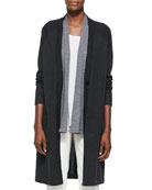 Merino Wool Long Sleeve Cardigan, Charcoal