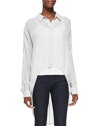 Crinkled Crepe High-Low Shirt & Fisher Project Organic Stretch Skinny Jeans