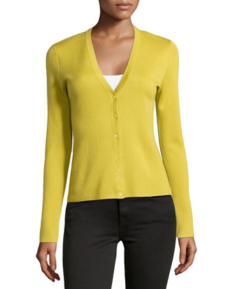 Cashmere Long-Sleeve Cardigan, Chartreuse