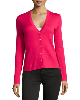 Cashmere Long-Sleeve Cardigan, Azalea