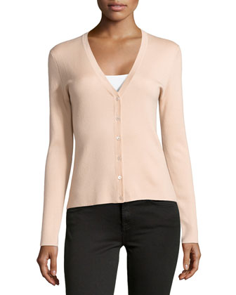 Cashmere Long-Sleeve Cardigan, Nude