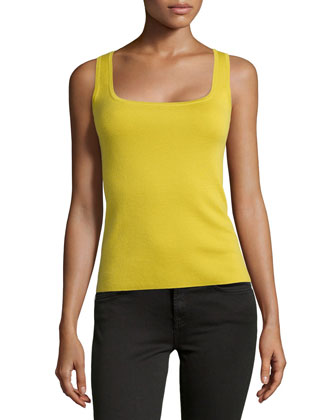 Cashmere Square Shell Top, Chartreuse
