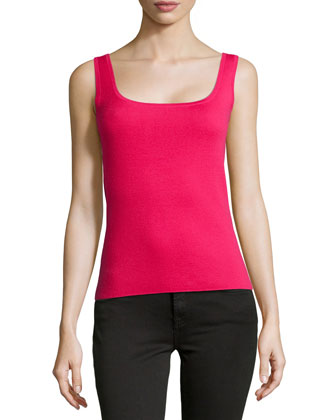 Super Cashmere Square Shell Top, Azalea