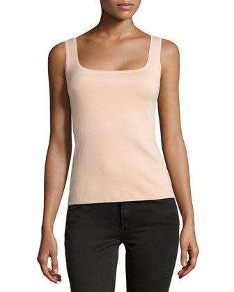 Super Cashmere Square Shell Top, Nude