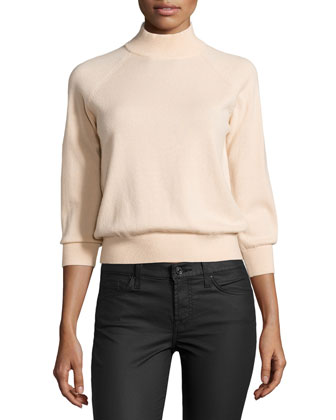 Mock-Neck Cashmere Top, Nude