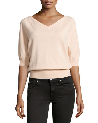 V-Neck Cashmere Top, Nude