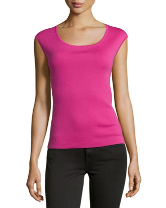 Cap-Sleeve Cashmere Shell, Begonia