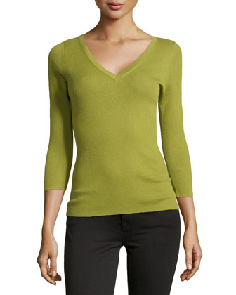 Featherweight Ribbed Cashmere V-Neck Top, Leaf