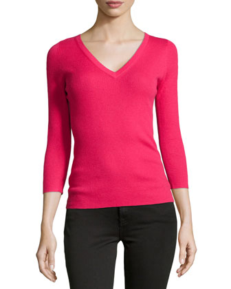 Featherweight Ribbed Cashmere V-Neck Top, Azalea