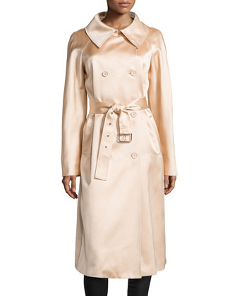Satin Long Trenchcoat, Nude