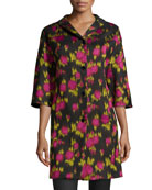 3/4-Sleeve Floral-Print Balmacaan Coat