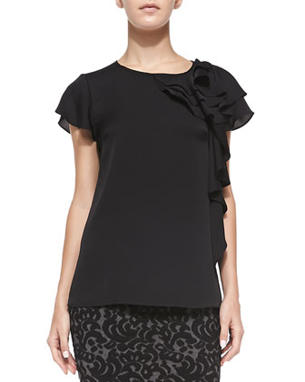 Camilla Short-Sleeve Ruffle-Side Blouse & Knit Lace Pencil Skirt