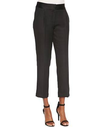 Silk Pleated Layer Blouse & Tuxedo Pleated Crepe Pants