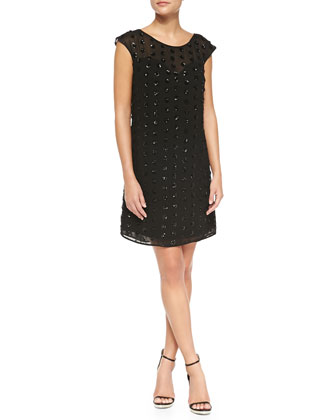 Carla Cap-Sleeve Sequined Dress