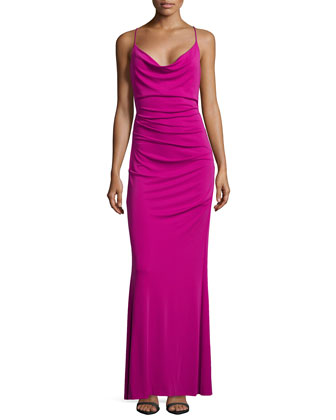 Carly Sleeveless Matte Jersey Gown, Pinkberry