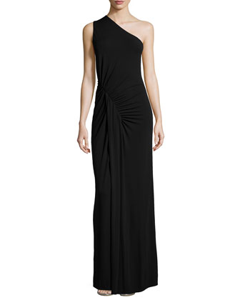 One-Shoulder Ruched Gown, Black