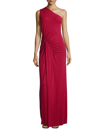 One-Shoulder Ruched Gown, Rose
