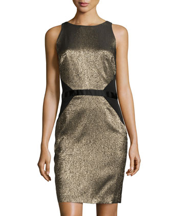 Cassie Sleeveless Jacquard Dress, Gold