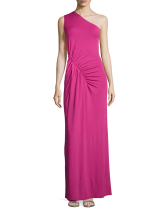 One-Shoulder Ruched Gown, Peony
