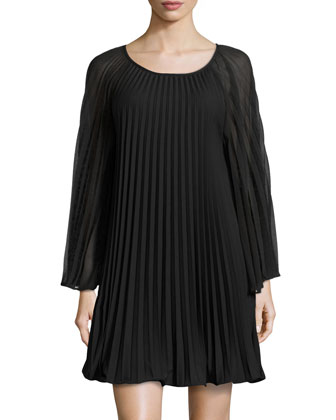 Sunburst Pleated Shift Dress, Black