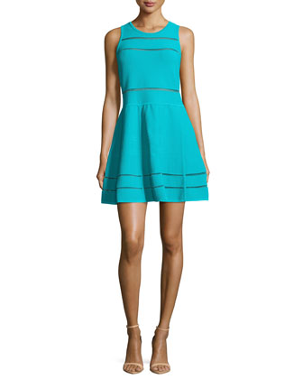 Cody Fit-&-Flare Bandage Knit Dress, Pool
