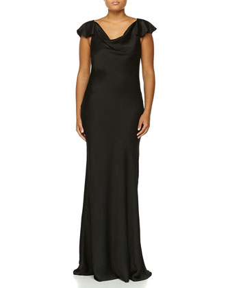 Flutter-Sleeve Bias Gown, Black