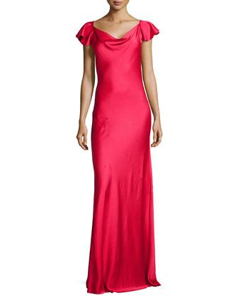 Flutter-Sleeve Bias Charmeuse Gown, Azalea