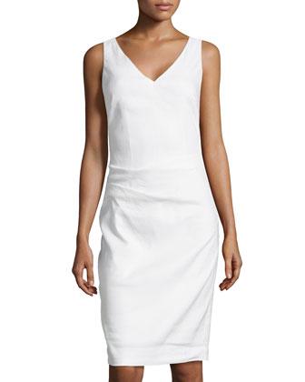 Kenna Sleeveless Linen-Blend Dress, White